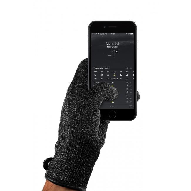MUJJO Dvouvrstvé dotykové rukavice pre SmartPhone - veľkosť L - čierne