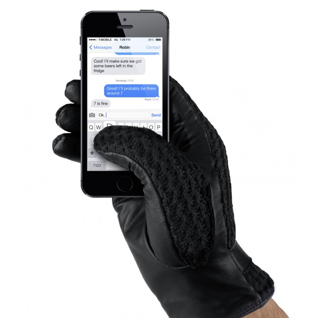 MUJJO Kožené háčkované dotykové rukavice - veľkosť 8,5 - čierne