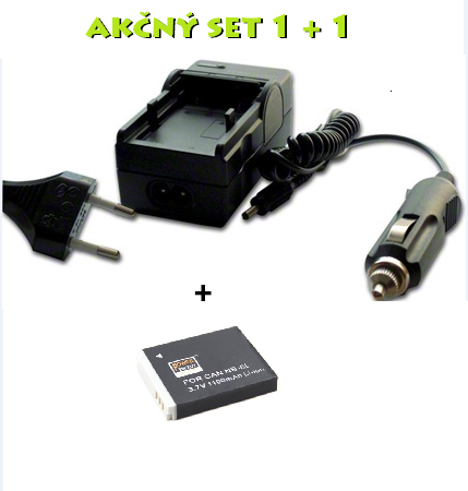 Akčný set NB-6L pre Canon: Nabíjačka + batéria Li-Ion 1000mAh