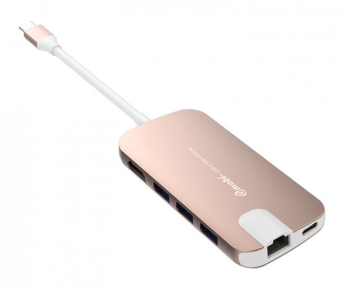 Gmobi Multi-port USB-C Hub HDMI a Ethernet - Rosa Gold
