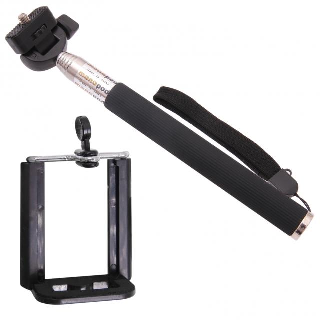 Držiak - tyč pre fotenie selfie - černý