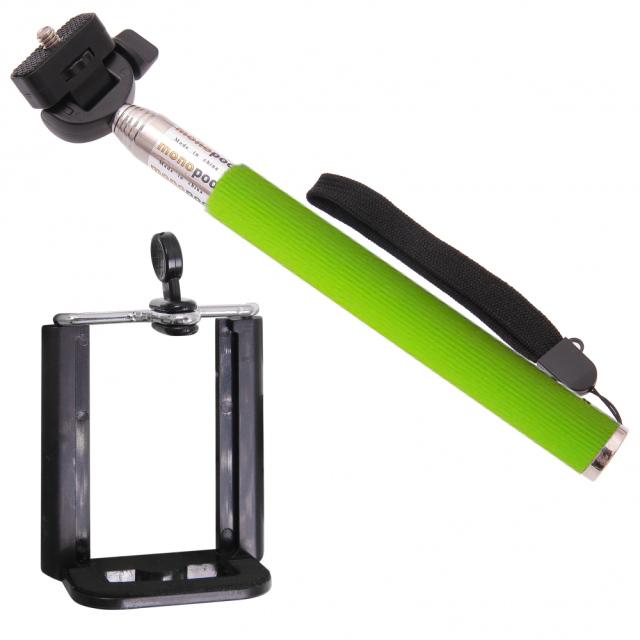 Držiak - tyč pre fotenie selfie - zelený
