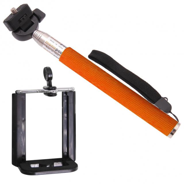 Držiak - tyč pre fotenie selfie - oranžový