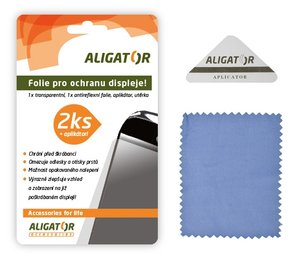 Nová ochranná fólia ALIGATOR Samsung G850 Alpha, 2ks + aplikátor