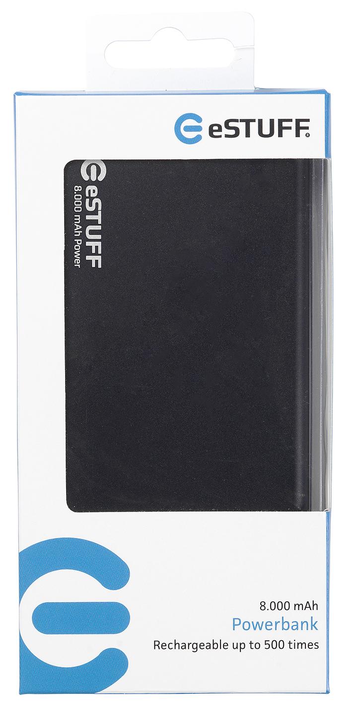 eSTUFF externá batéria Power Bank Ultra-slim - 8000 mAh - čierná