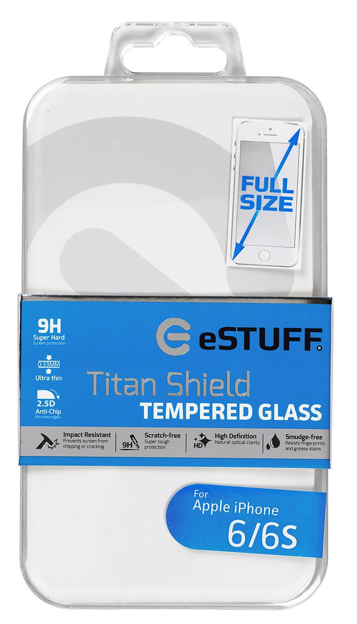 eSTUFF  ochranné sklo TitanShield Full pre iPhone 6/6s bílé