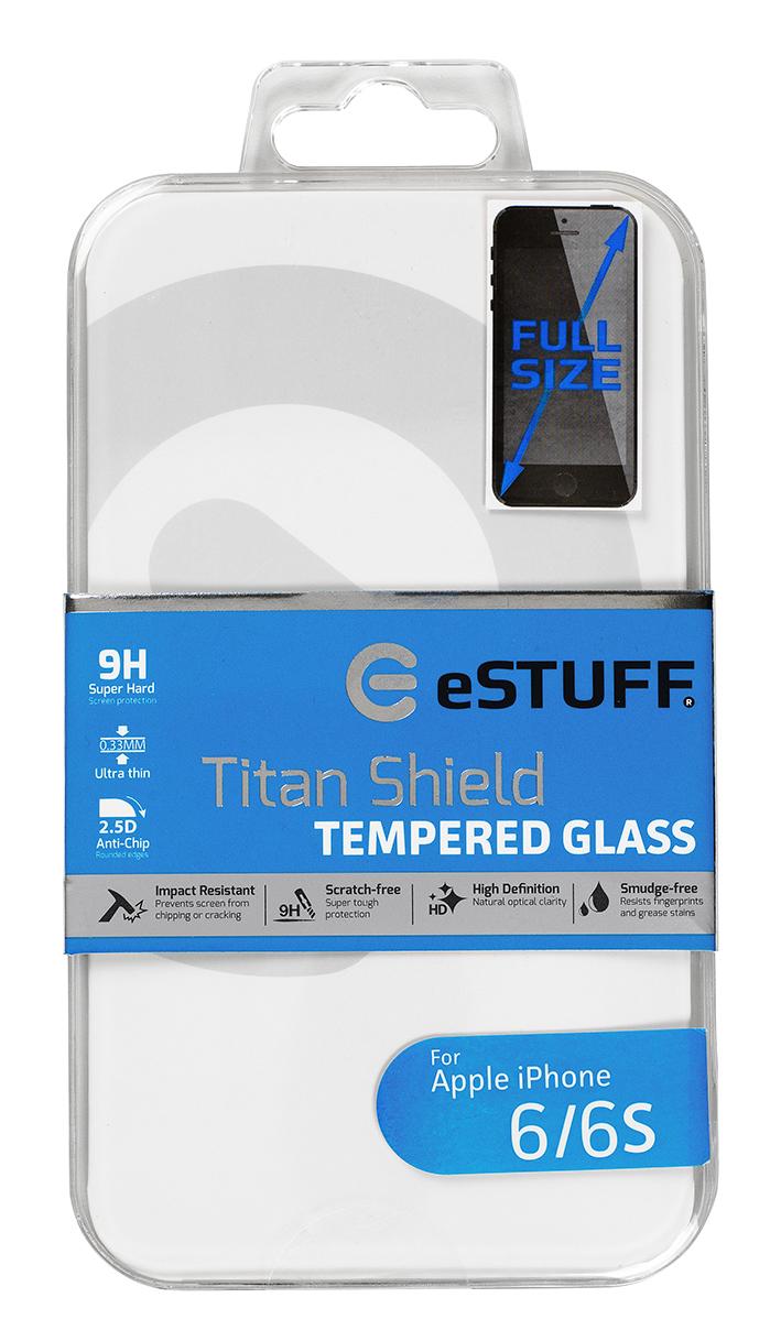 eSTUFF  ochranné sklo TitanShield Full pre iPhone 6/6s černé