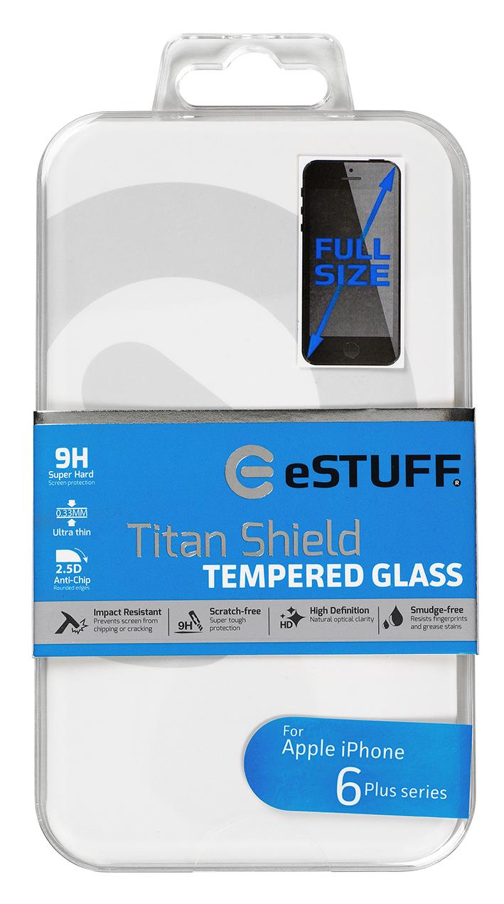 eSTUFF  ochranné sklo TitanShield Full pre iPhone 6+/6s+ černé