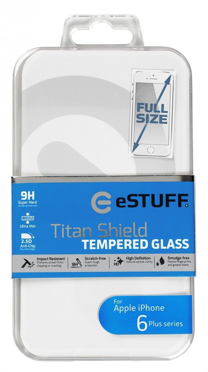 eSTUFF  ochranné sklo TitanShield Full pre iPhone 6+/6s+ bílé