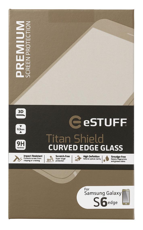 eSTUFF  ochranné sklo TitanShield 3D pre Samsung Galaxy S6 Edge zlaté