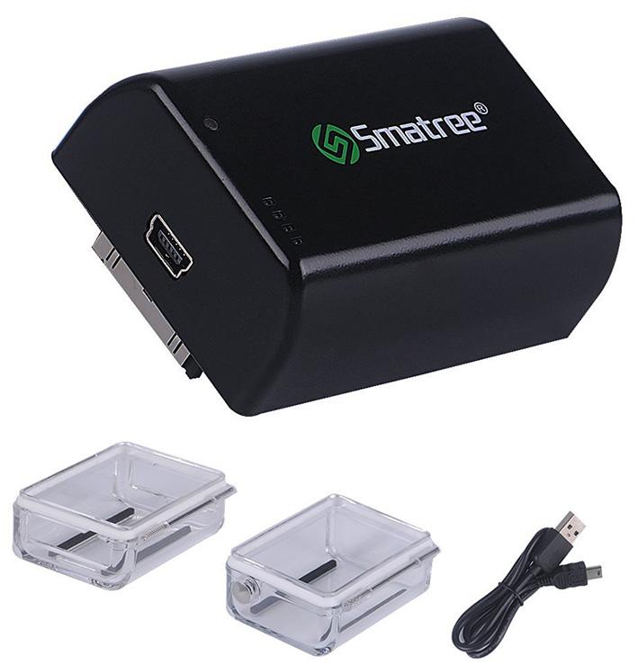 Smatree externá batéria 2500 mAh pre GoPro 3+, 4 + voděodolné púzdro