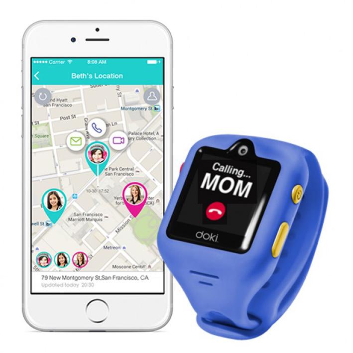 dokiWatch detské inteligentné hodinky s videotelefonem a GPS - Sonic Blue