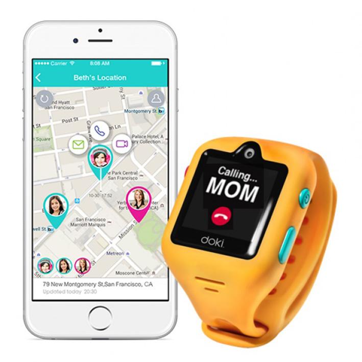 dokiWatch detské inteligentné hodinky s videotelefonem a GPS - Mango Yellow