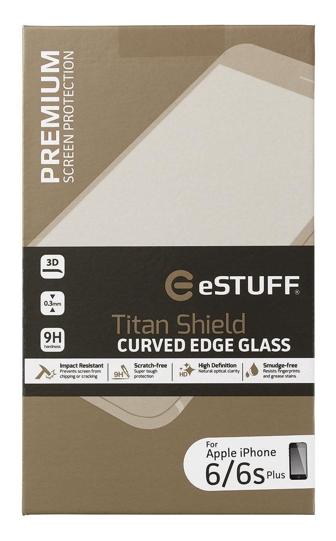eSTUFF  ochranné sklo TitanShield 3D pre iPhone 6/6s+ čierný