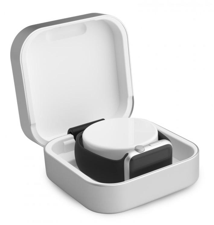 ClearGrass Amber cestovná púzdro a USB power banka pre Apple Watch - strieborná