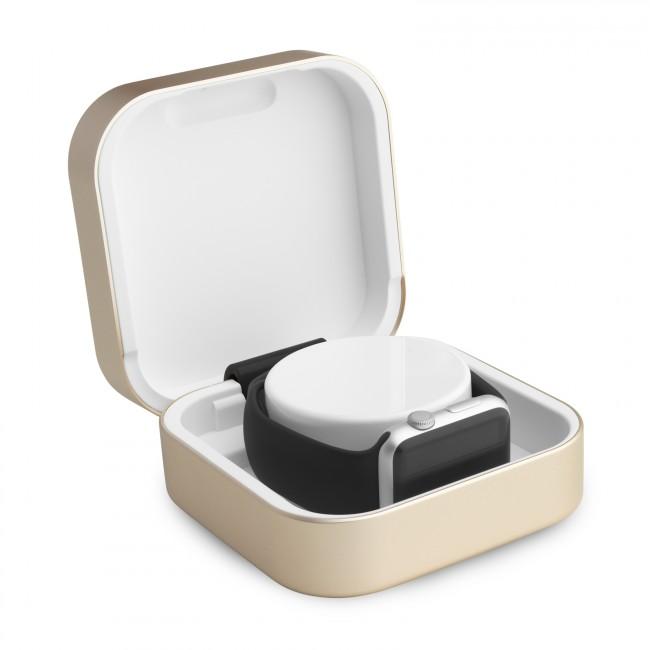 ClearGrass Amber cestovná púzdro a USB power banka pre Apple Watch - zlatá