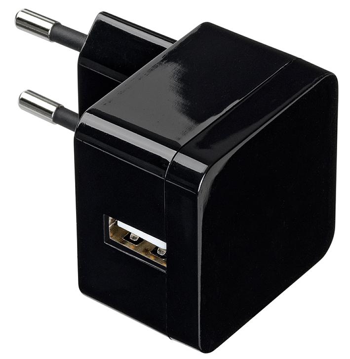 eSTUFF  Home Charger 1 USB 2.4A/12W - čierný