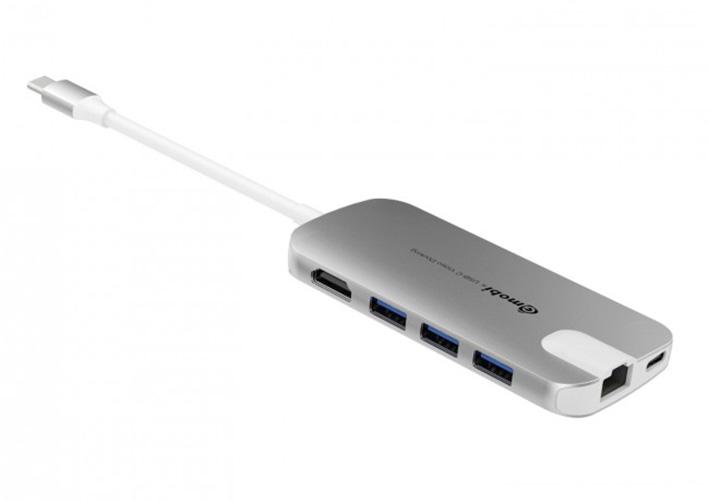Gmobi Multi-port USB-C Hub HDMI a Ethernet - stříbrný