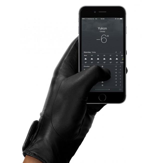 MUJJO Kožené dotykové rukavice - veľkosť 8 - čierne