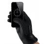 MUJJO Kožené háčkované dotykové rukavice - veľkosť 9 - čierne