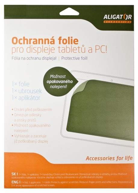 Nová ochranná fólia ALIGATOR pre Tablet 10,2 (131x222mm) transparentná, univerzálny s mřížkou, 1ks + aplikátor
