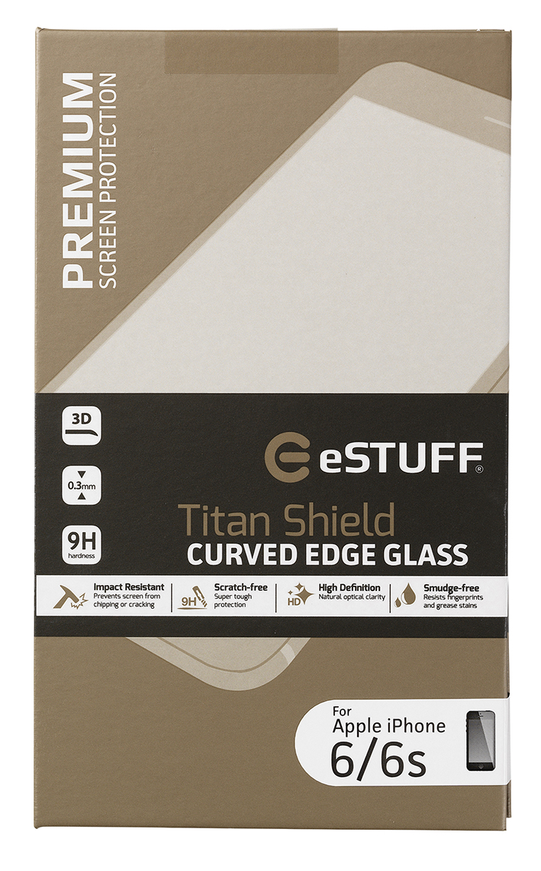 eSTUFF  ochranné sklo TitanShield 3D pre iPhone 6/6s černé